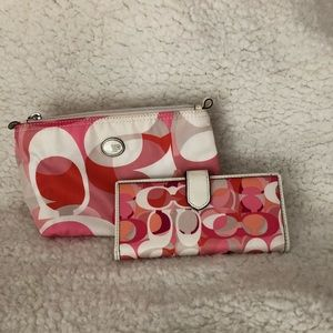 Coach wallet and cosmetic bag